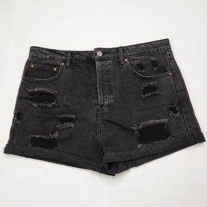 Forever 21 Black Distressed High Rise Cuffed Short